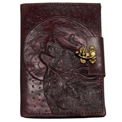 Embossed Wolf Moon Leather Journal with Lock