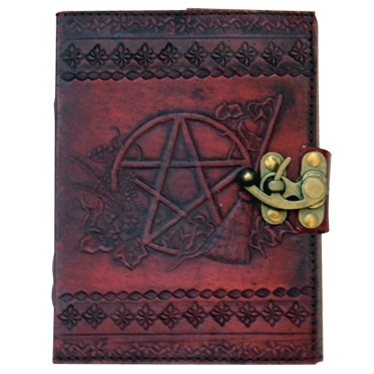 Pentagram 5x7 Embossed Leather Journal with Lock