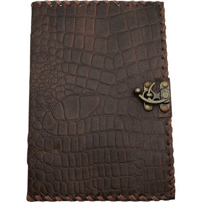 Large Brown Dragon Skin Leather Journal