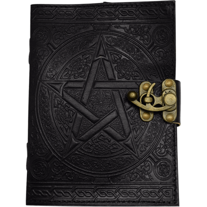 Black Pentagram Embossed Leather Journal