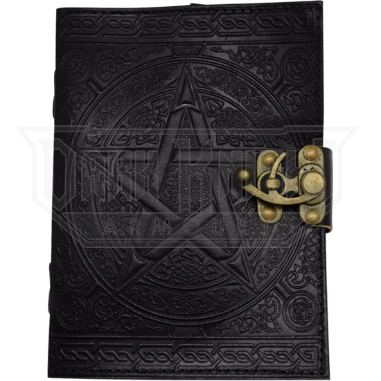Black Pentagram Embossed Leather Journal