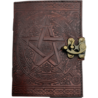 Brown Pentagram Embossed Leather Journal