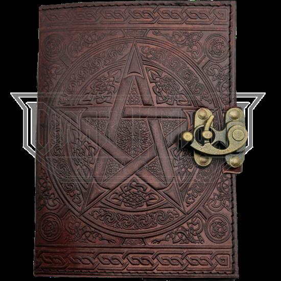 Brown Pentagram Embossed Leather Journal
