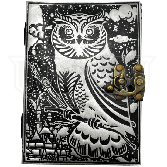 Black and Silver Leather Owl Journal