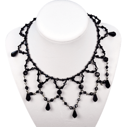 Gothic Beaded Black Choker