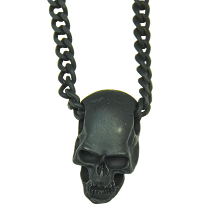 Blackened Skull Necklace