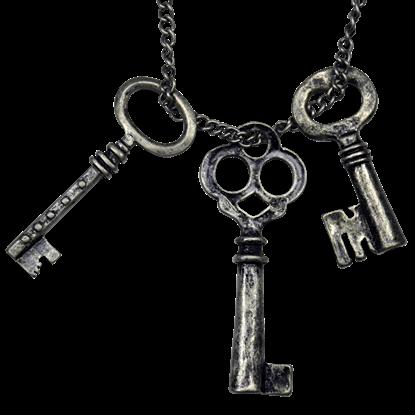 Burnished Silver Keys Necklace
