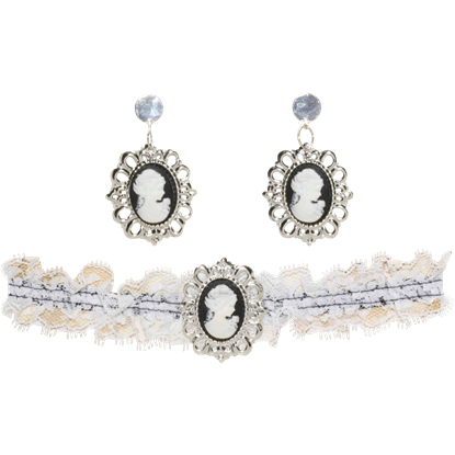 Steampunk Cameo Choker And Earring Set