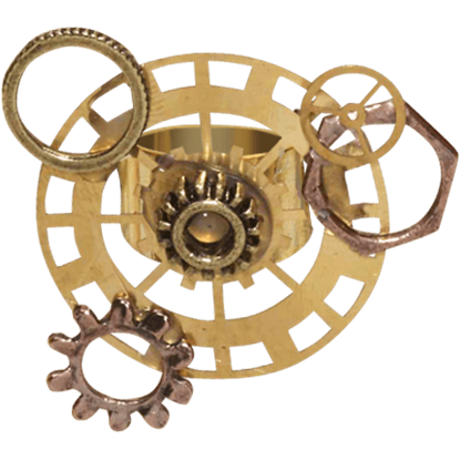 Gold Steampunk Gear Ring