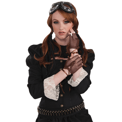 Brown Fingerless Steampunk Gloves