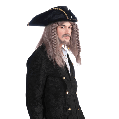 Pirate Captain's Faded Braided Wig