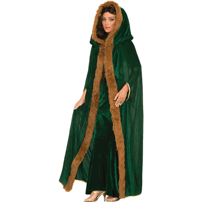 Womens Fur Trimmed Green Costume Cloak