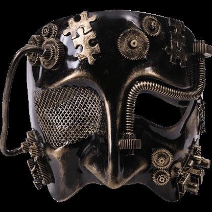 Mens Golden Steampunk Half Mask