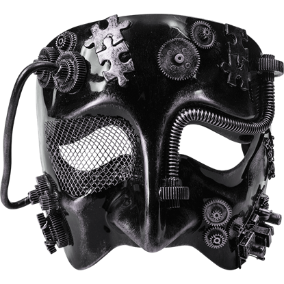 Mens Silver Steampunk Half Mask