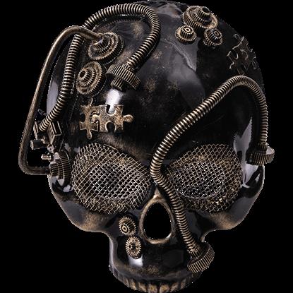 Golden Steampunk Skull Half Mask