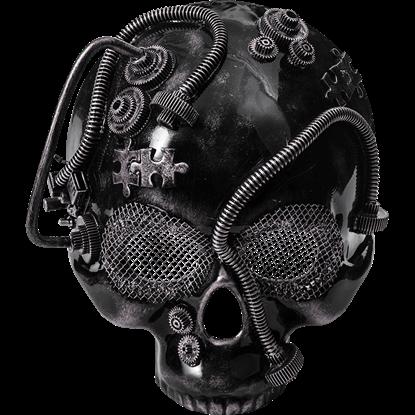 Silver Steampunk Skull Half Mask