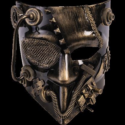 Golden Steampunk Jester Mask