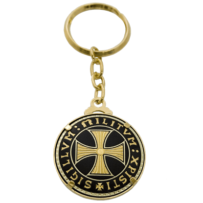 Damascene Templar Cross Double-Sided Keychain by Marto