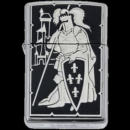 Damascene French Knight Zippo Lighter by Marto