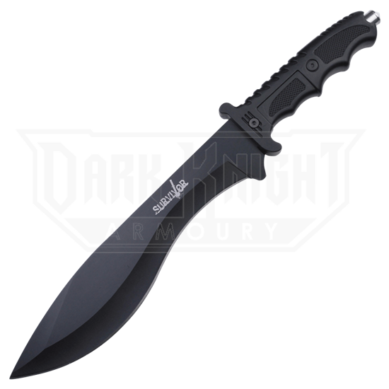 Black Swept Blade Survival Knife