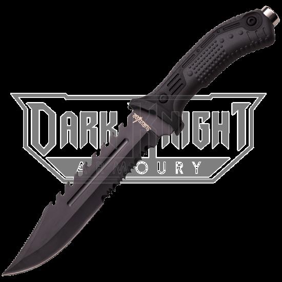 Black Serrated Sawback Knife