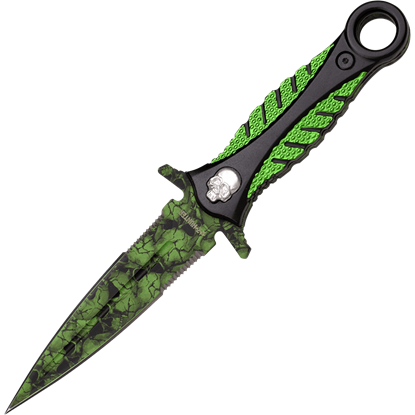 Green Skull Camo Boot Knife