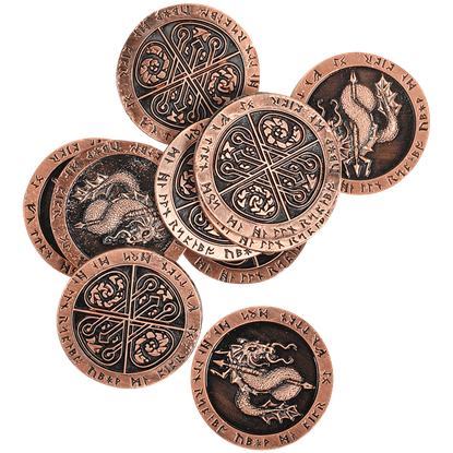 Set of 10 Copper Fire LARP Coins