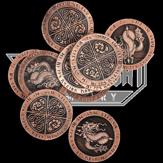 Set of 10 Copper Fire LARP Coins