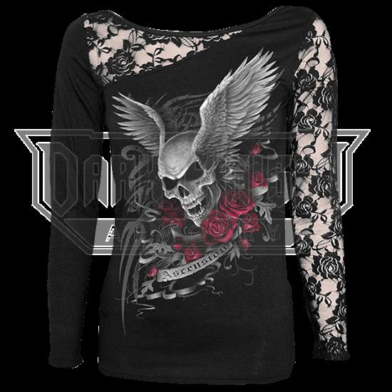 Ascension Skull Womens Lace Shoulder Shirt
