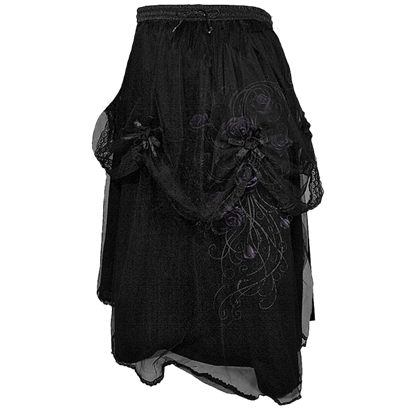 Entwined Black Rose Corsage Skirt