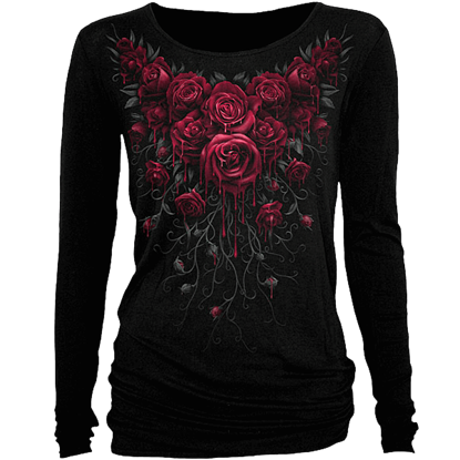 Blood Rose Womens Long Sleeve Shirt