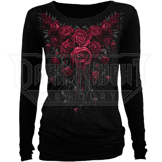 Blood Rose Womens Long Sleeve Shirt