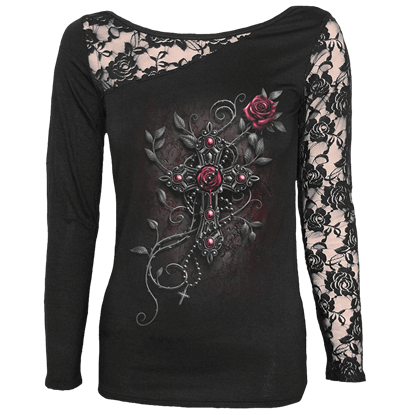 Gothic Cross Womens Lace Shoulder Shirt