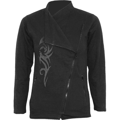 Womens Stained Tribal Slant Zip Jacket