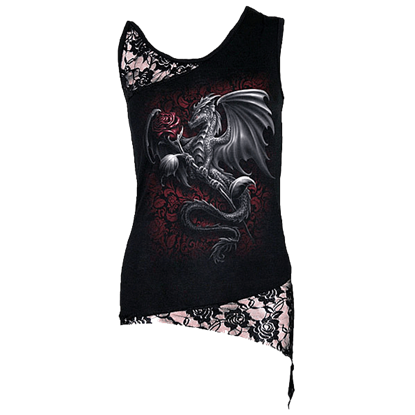 Dragon Rose Womens Shoulder Lace Tank Top