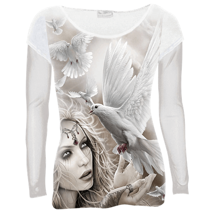 Angel Doves Womens Long Sleeve Shirt
