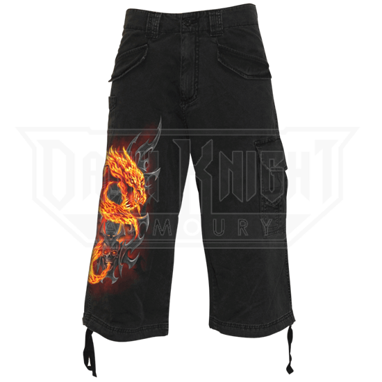 Fire Dragon Long Cargo Shorts