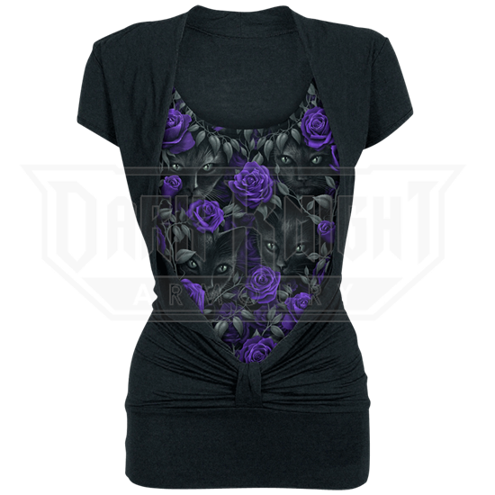 Black Cat and Purple Rose Knotted Top