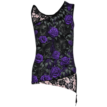 Black Cat and Purple Rose Lace Top
