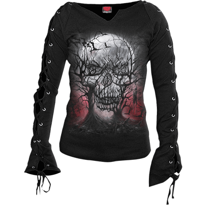 Dark Roots Womens Laced Long Sleeve Top