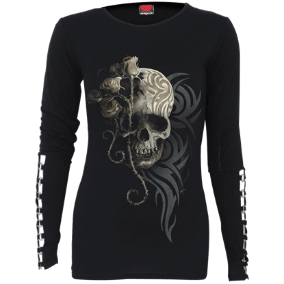 Dark Angel Buckle Cuff Long Sleeve Top