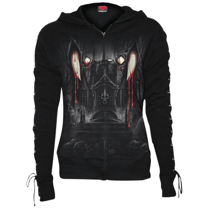 Vamp Fangs Lace-up Full Zip Hoodie