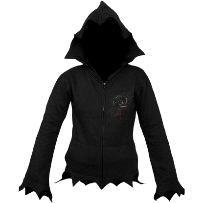 Black Rose Dew Gothic Zipped Hoodie