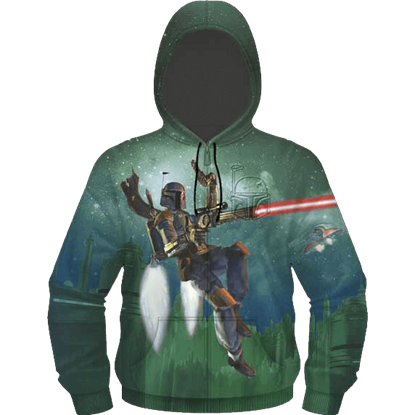 Flying Boba Fett Embossed Fleece Hoodie