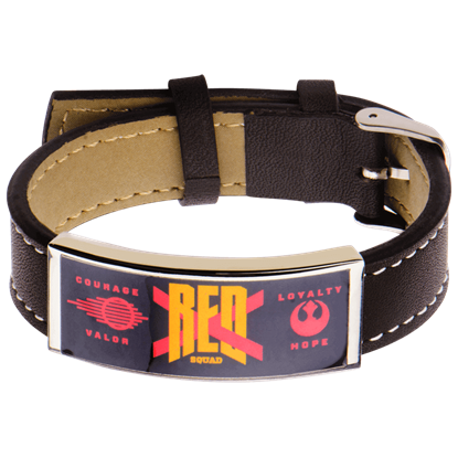 Force Awakens Red X Brown Leather Bracelet