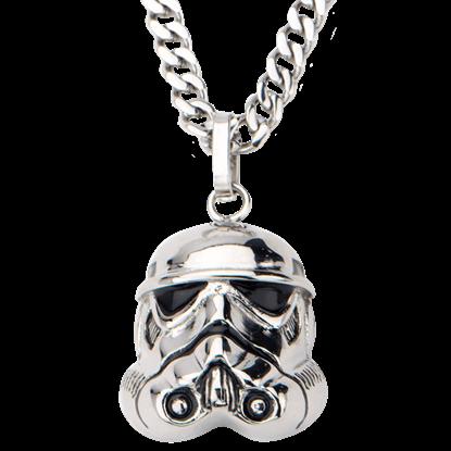 Mens Stainless Steel 3D Stormtrooper Helmet Necklace