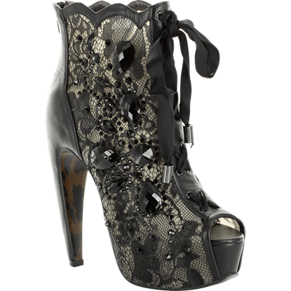 Lace and Stone Peep-Toe Ankle Boots