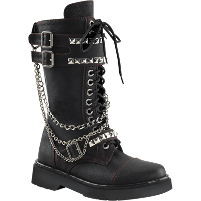 Studded and Chained Womens Combat Boots