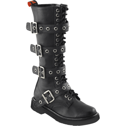 Womens Four Strap Buckled Combat Boots