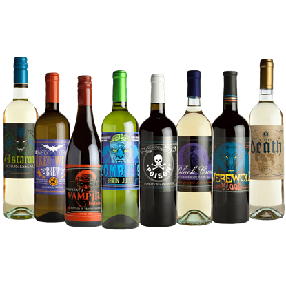 Glowing Halloween Slapsticker Wine Bottle Labels